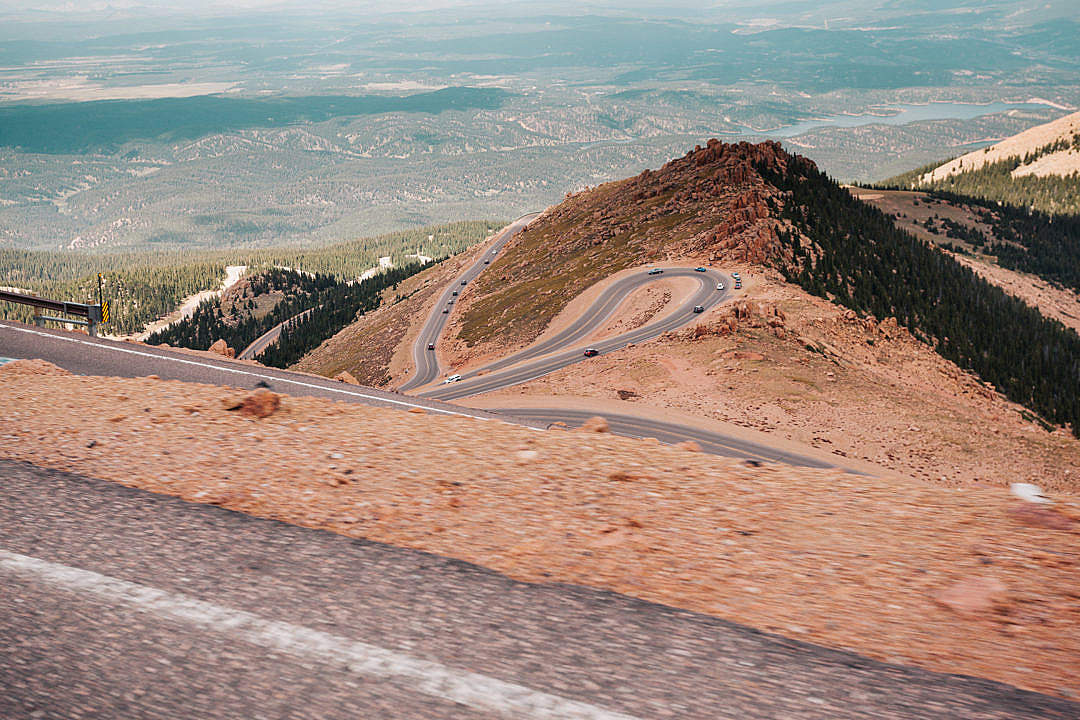 Download View of the Colorado's Curvy Pikes Peak Road FREE Stock Photo