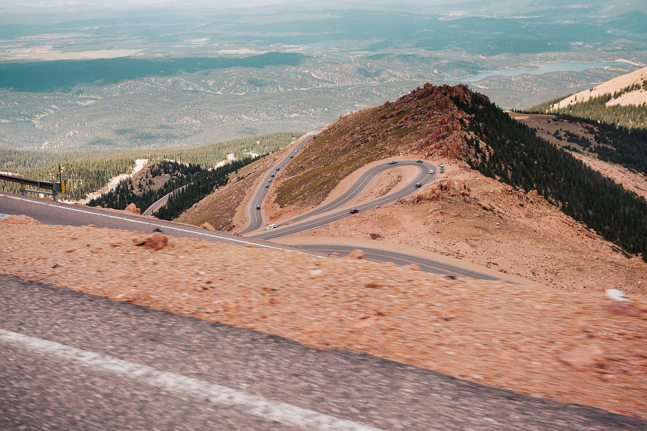 View of the Colorado's Curvy Pikes Peak Road Free Stock Photo