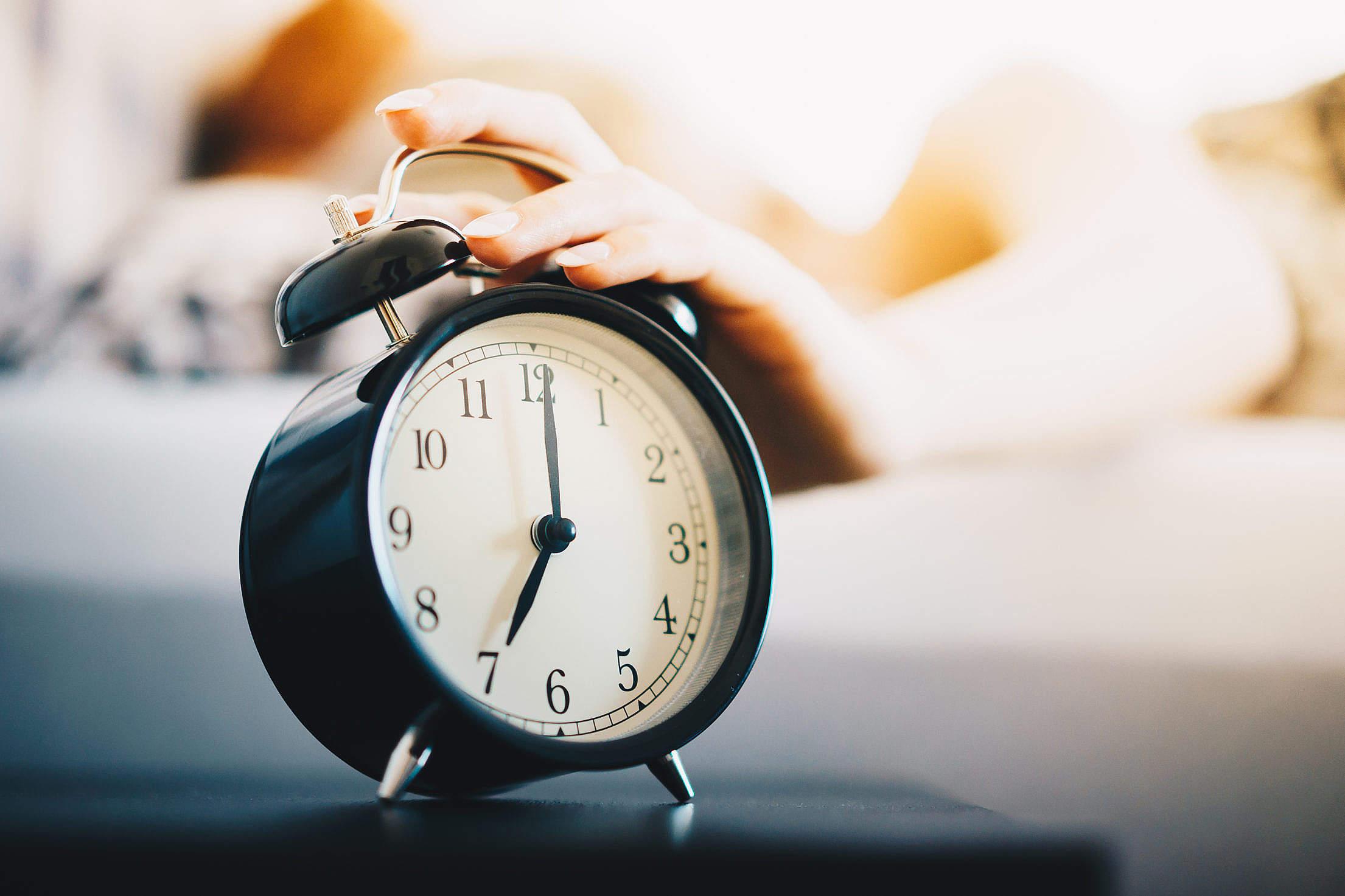 Vintage Alarm Clock Morning Routine Free Stock Photo