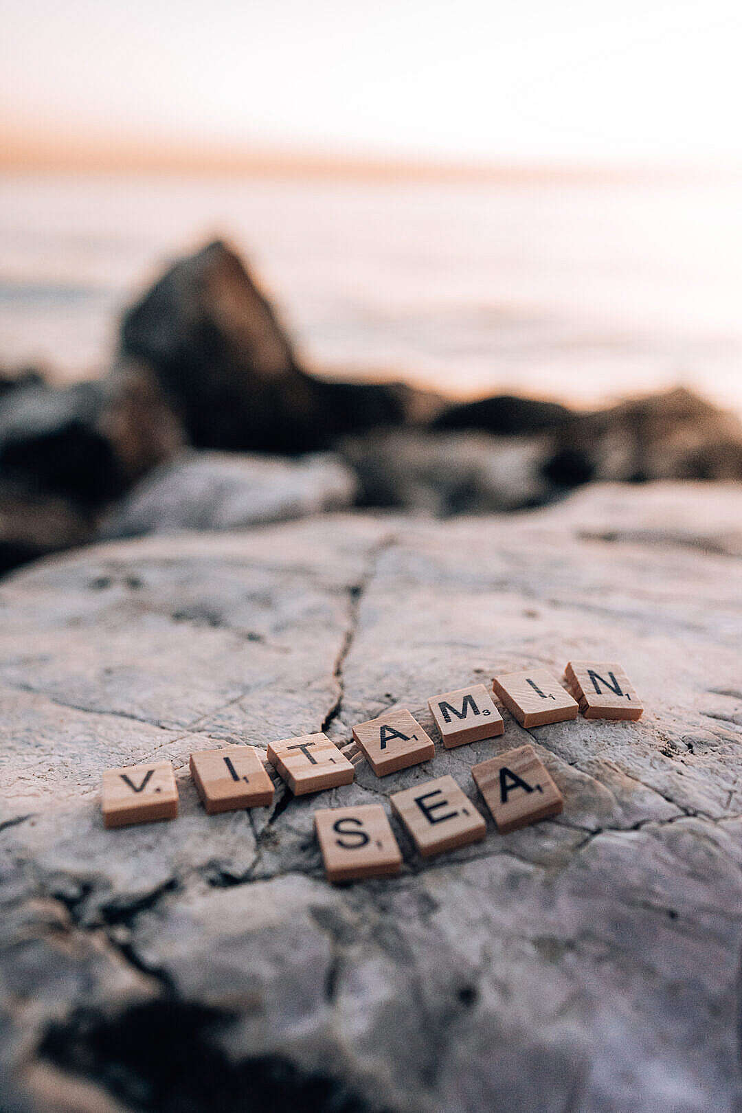 Download Vitamin Sea Scrabble Tiles Lettering FREE Stock Photo