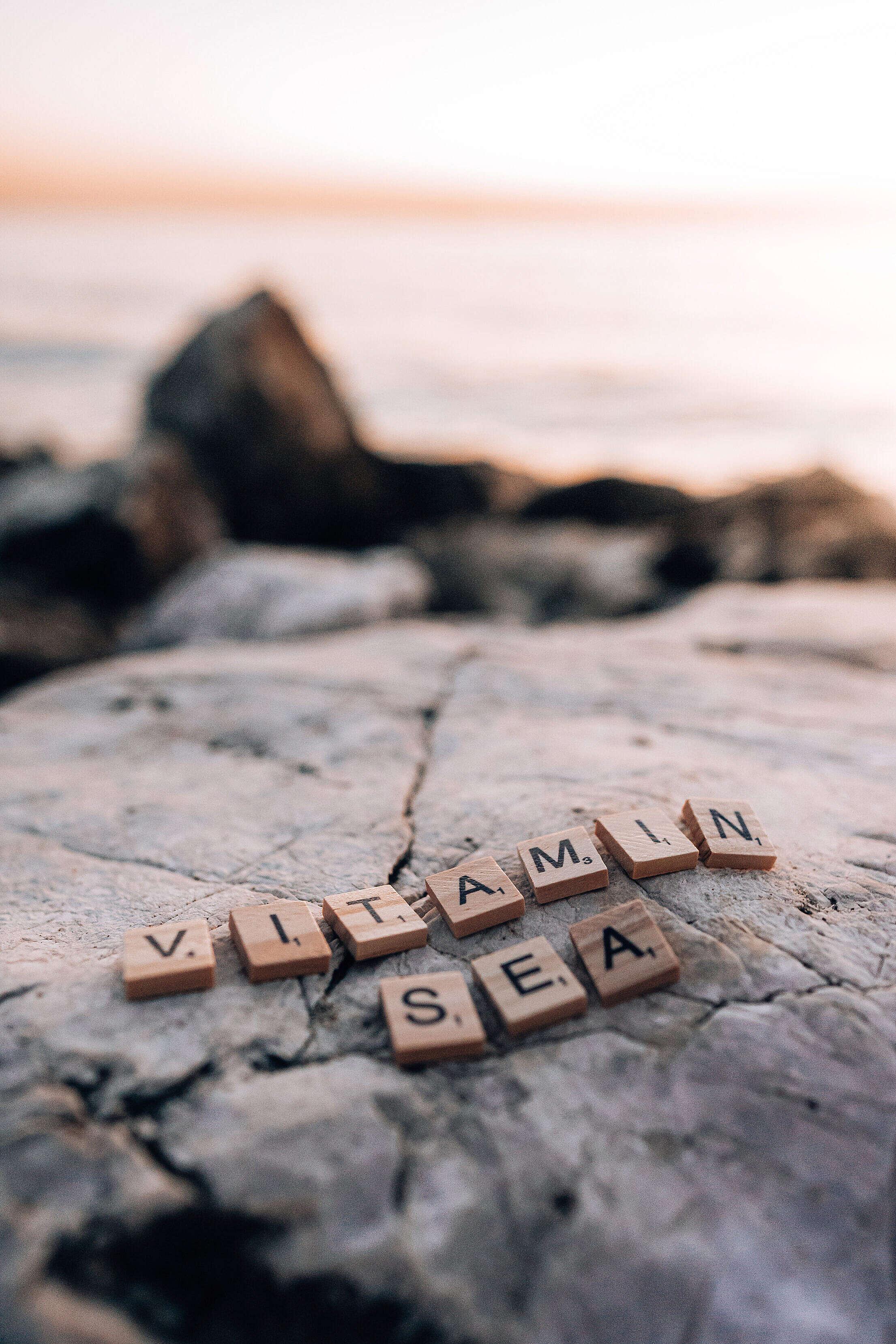 Vitamin Sea Scrabble Tiles Lettering Free Stock Photo