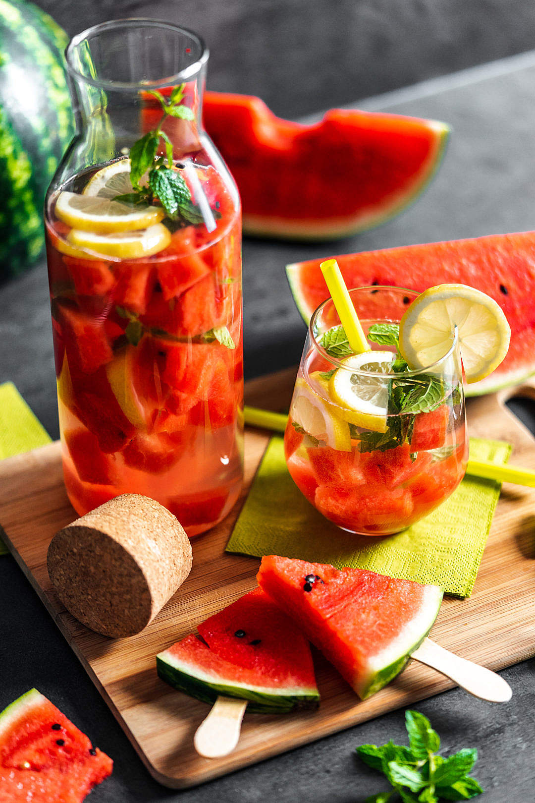 Download Watermelon Summer Drink with Watermelon Popsicles FREE Stock Photo