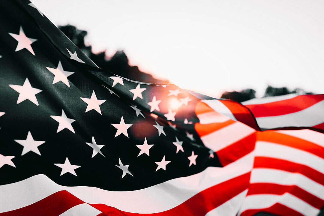 Download Waving American Flag at Sunset FREE Stock Photo