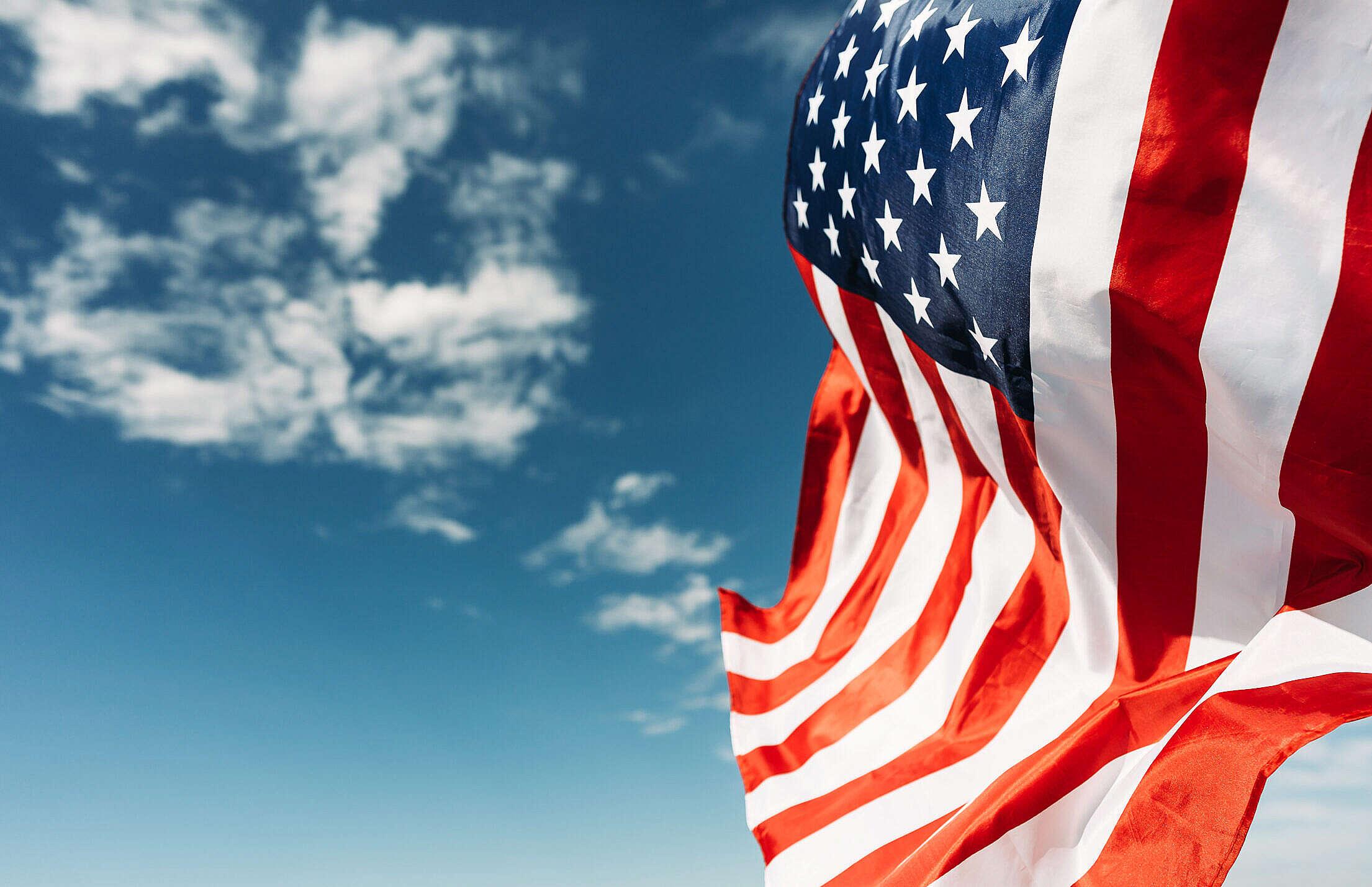 Waving American Flag Free Stock Photo