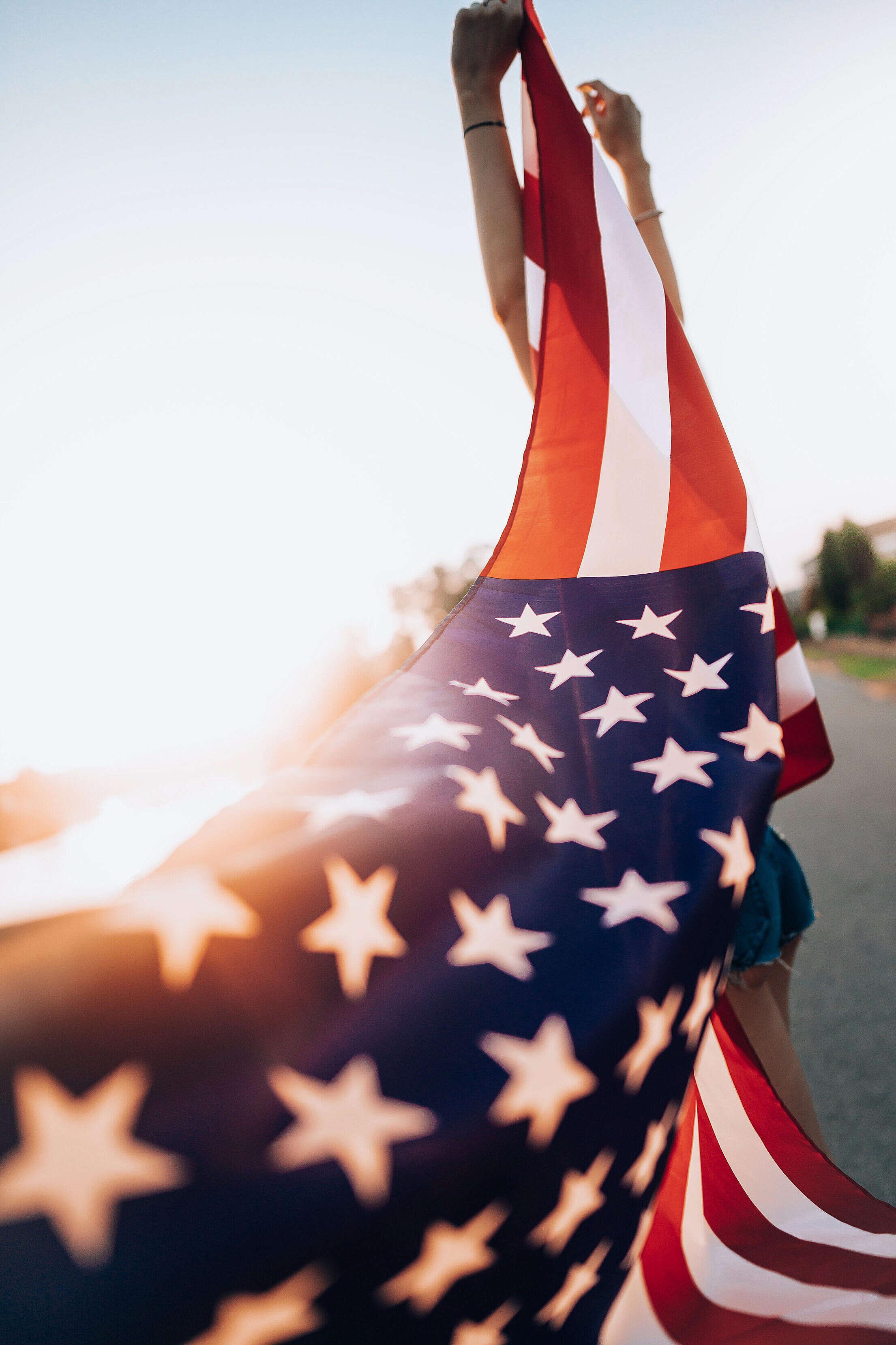 Waving USA Flag Free Stock Photo