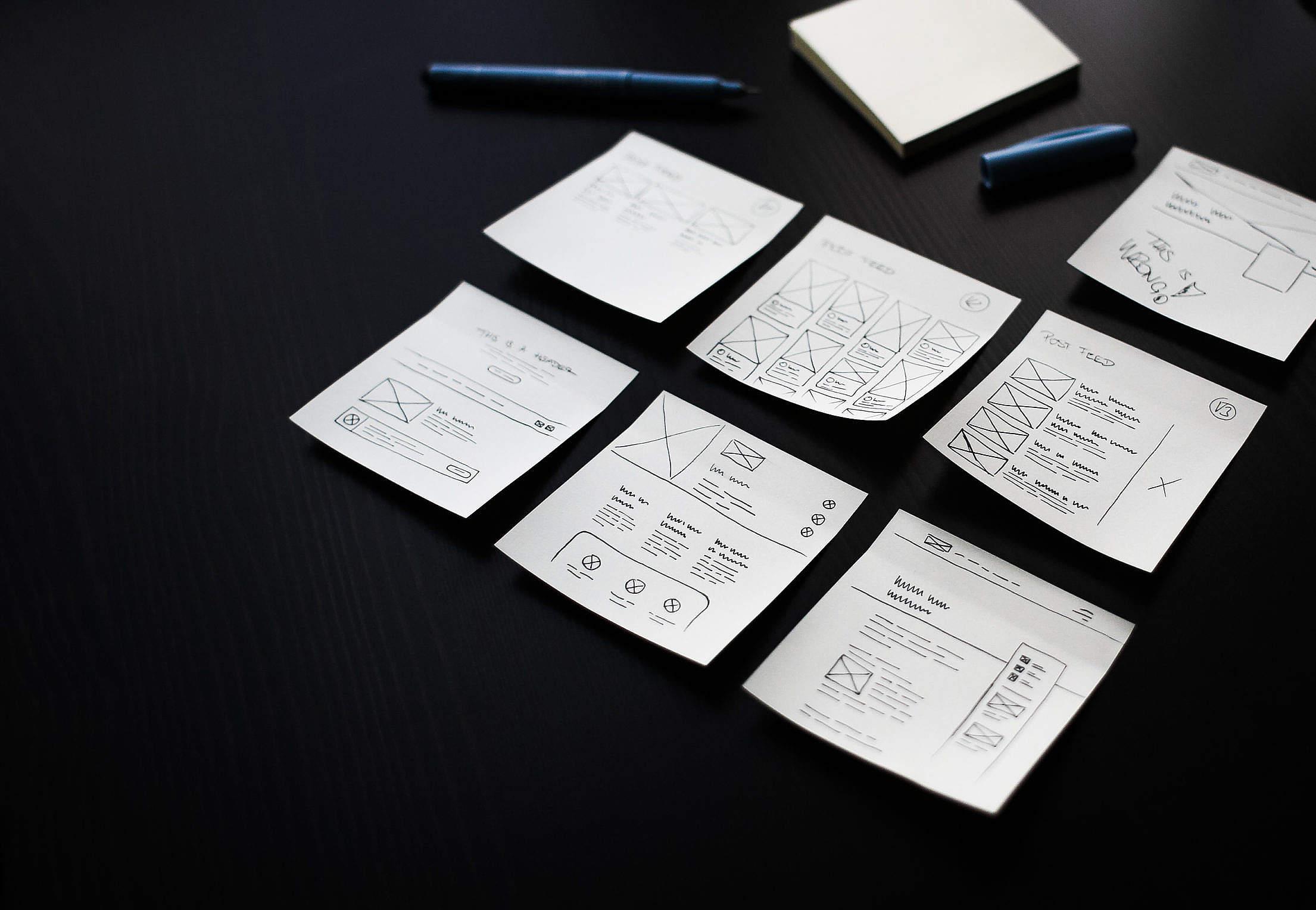 Webdesigner's Sticky Notes Free Stock Photo