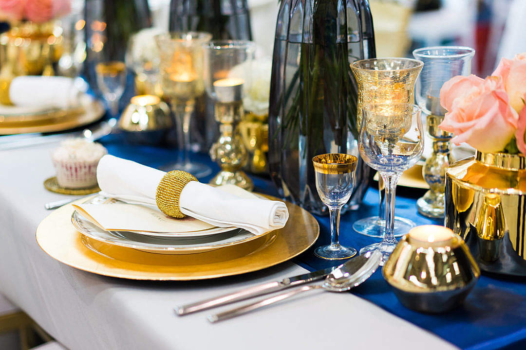 Download Wedding Lunch Table Setting in Blue and Gold Color FREE Stock Photo