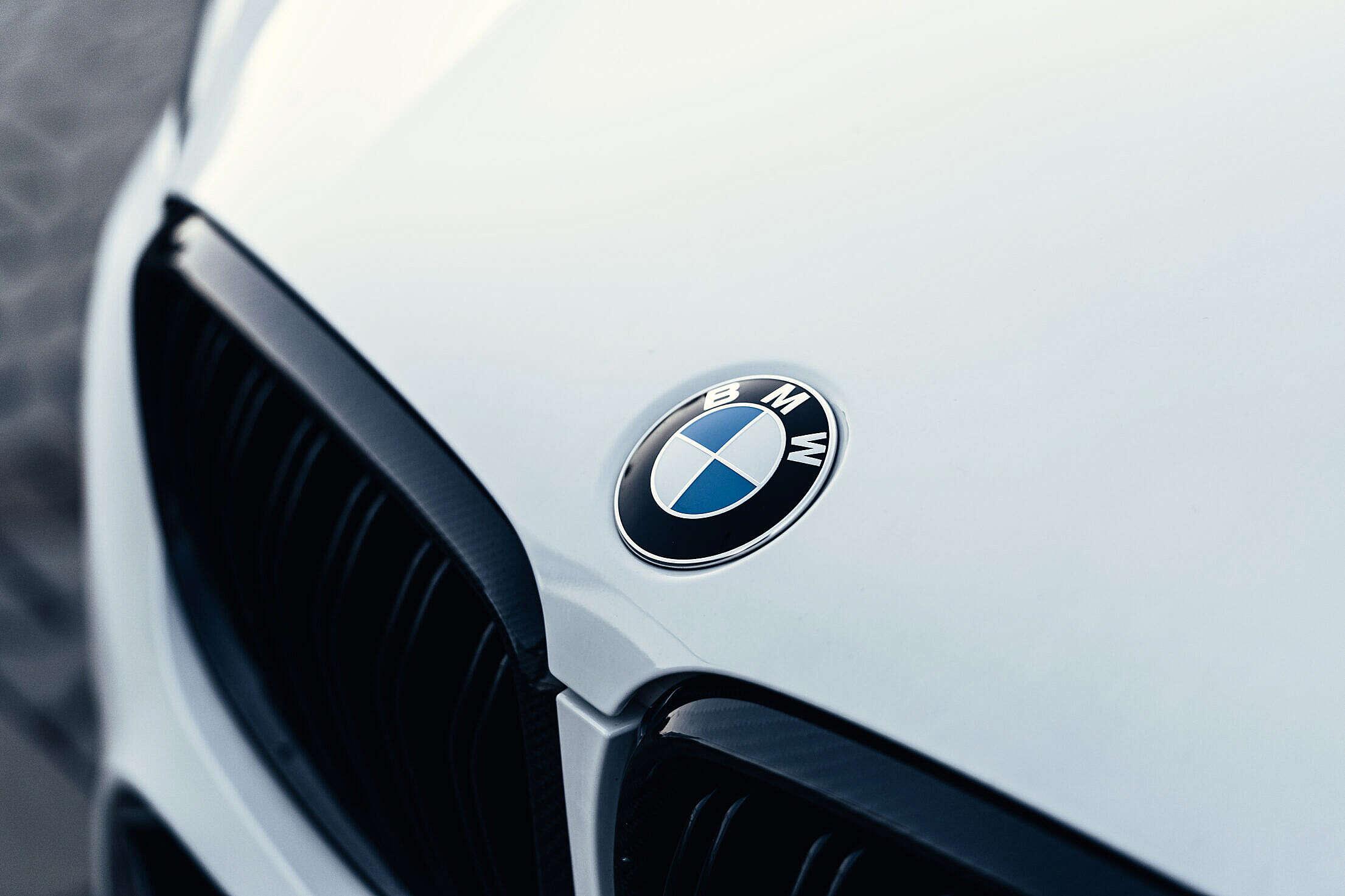White Car Front Mask with BMW Logo Free Stock Photo