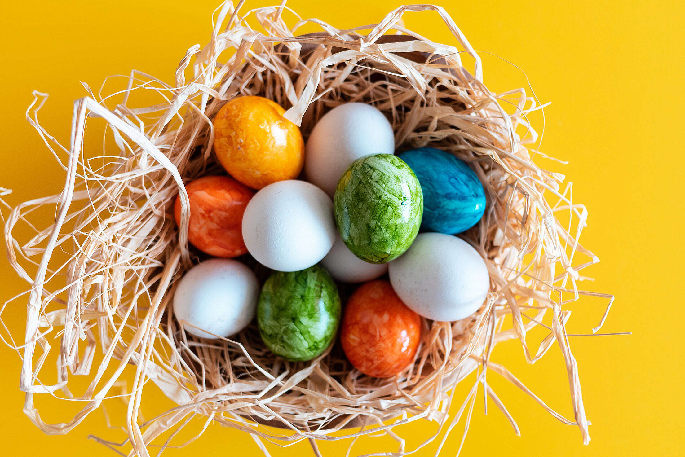 White & Colored Easter Eggs Free Stock Photo