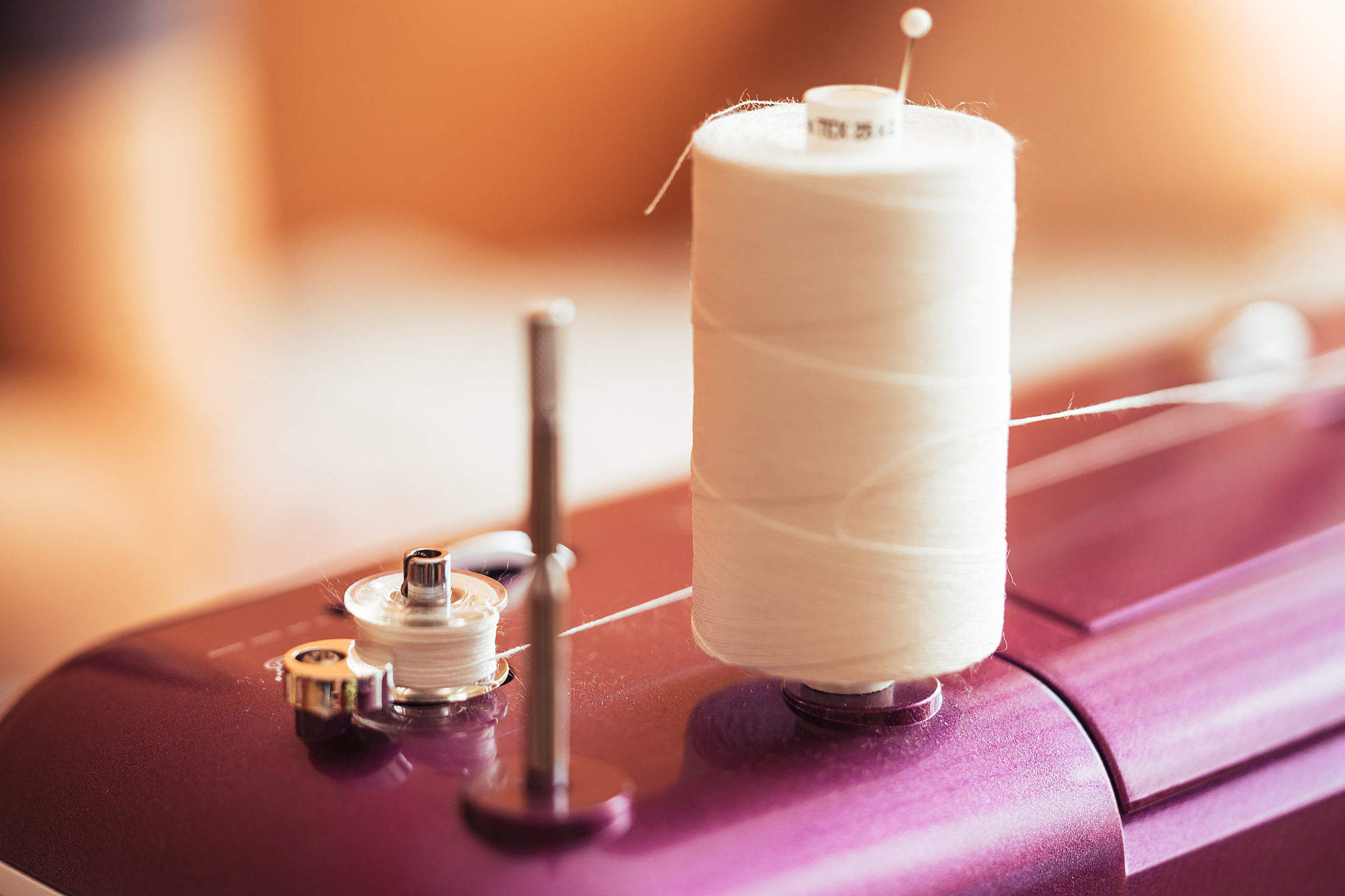 White Cotton Sewing Thread Free Stock Photo