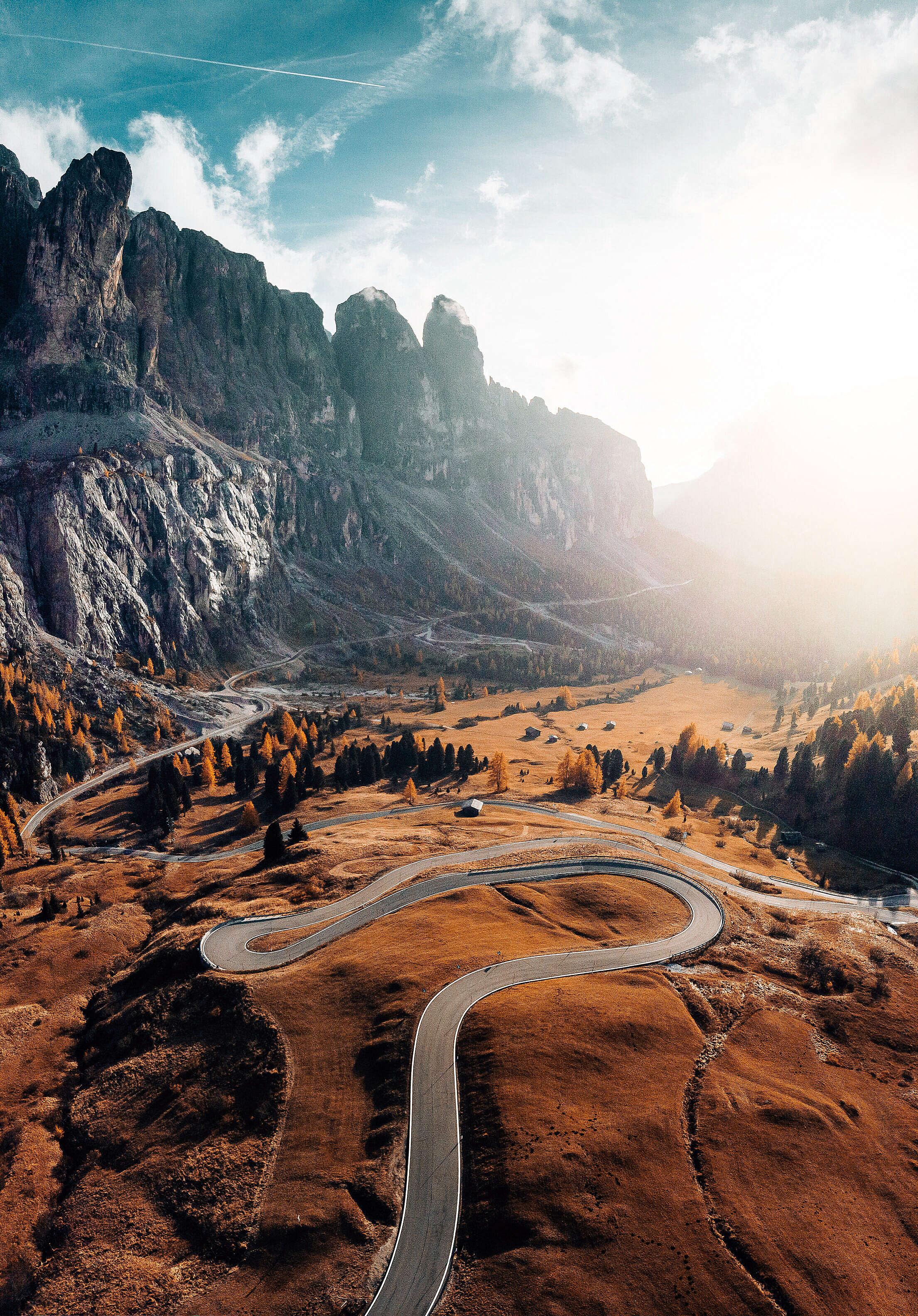 Winding Dolomites Roads Free Stock Photo