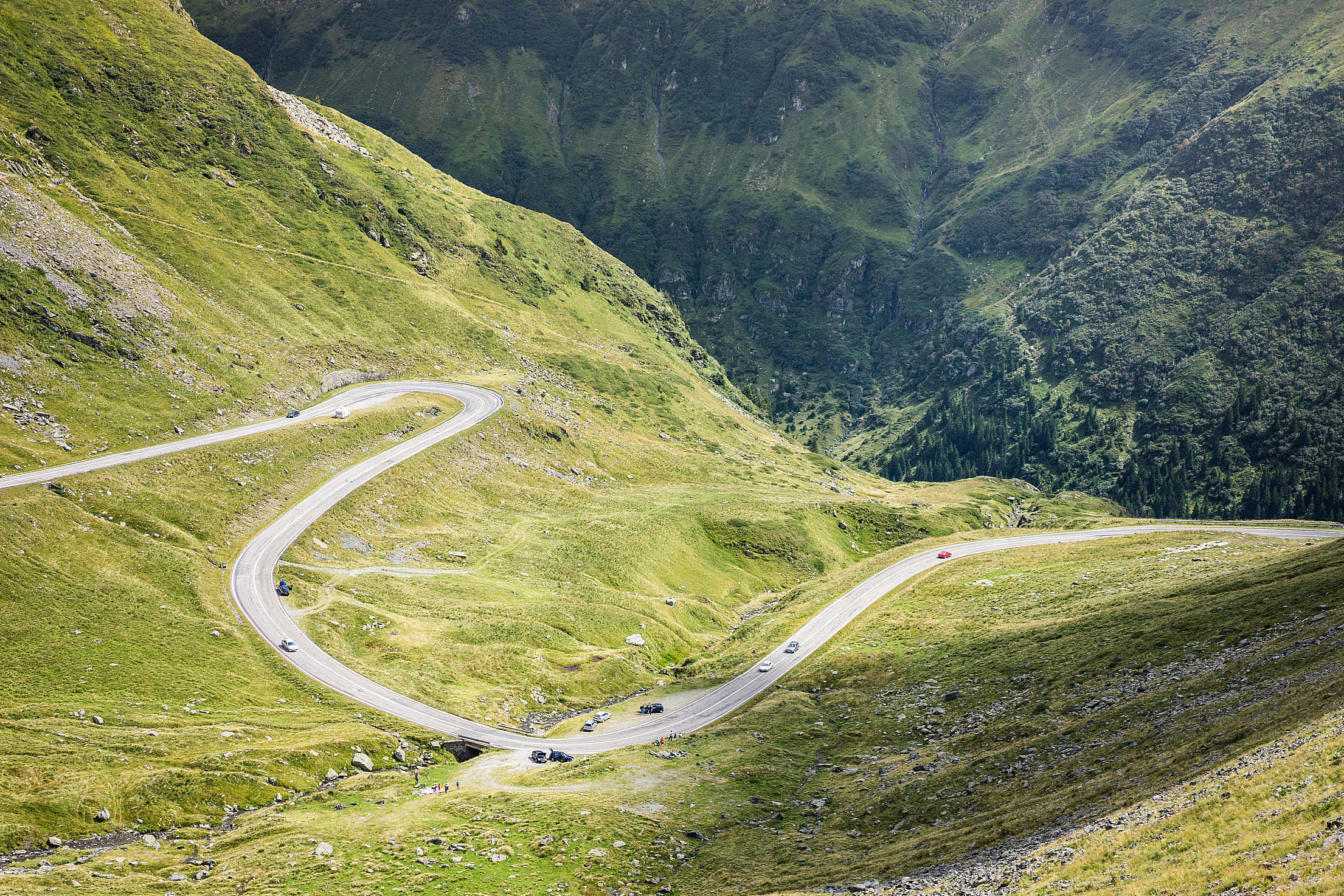 Winding Road in Romanian Mountains Free Stock Photo