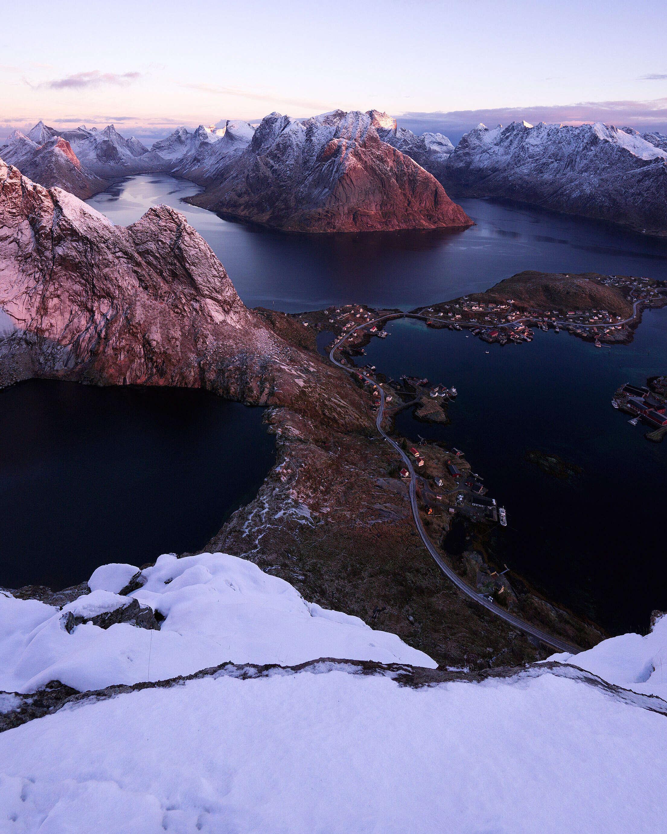 Winter Sunrise Glow at Lofoten Islands in Norway Free Stock Photo