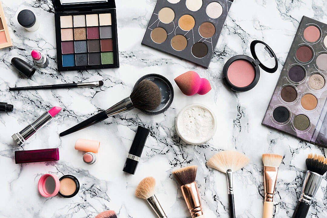 Download Woman Beauty Makeup Set on White Marble Background FREE Stock Photo