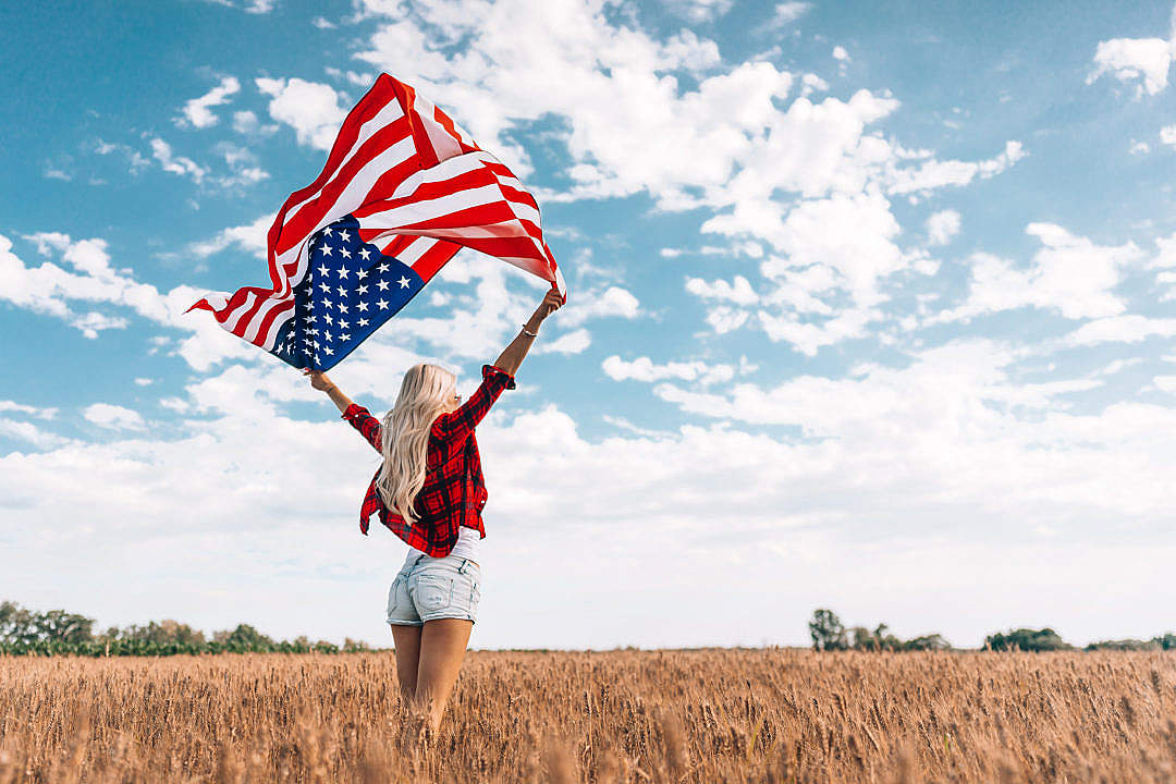 Download Woman Celebrating Independence Day FREE Stock Photo