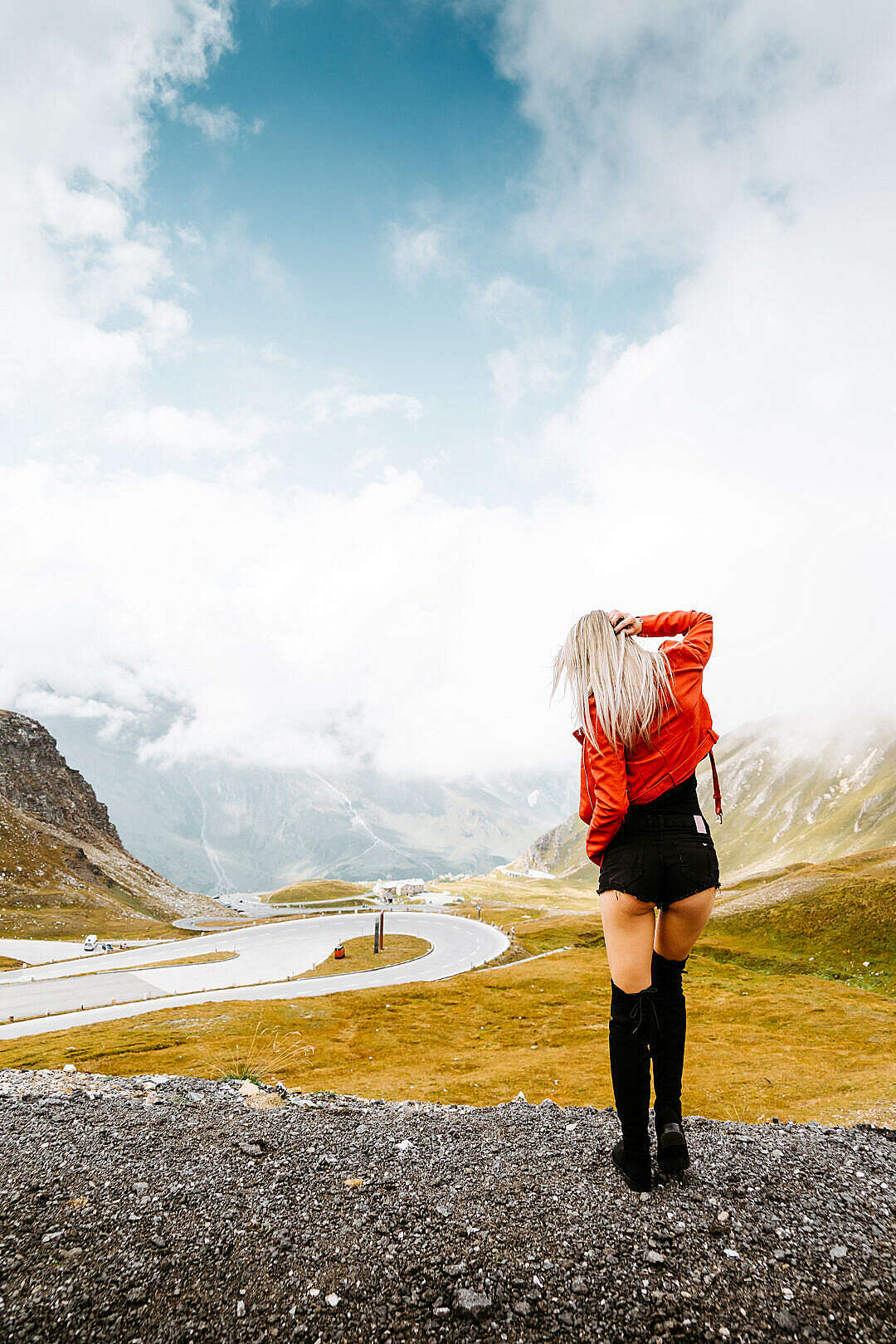 Download Woman Enjoying Grossglockner High Alpine Road in Austria FREE Stock Photo
