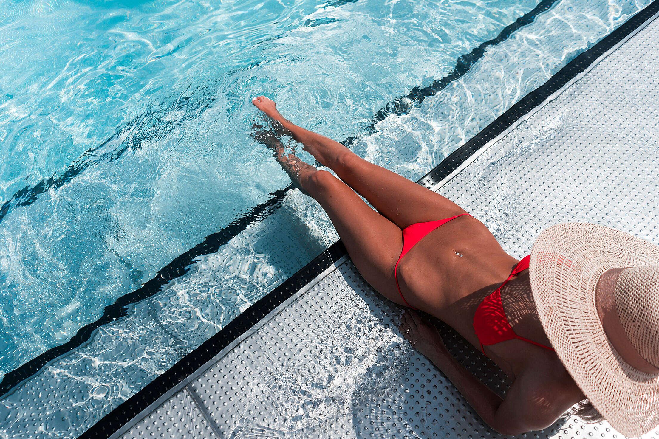 Woman Enjoying Summer in Swimming Pool Free Stock Photo