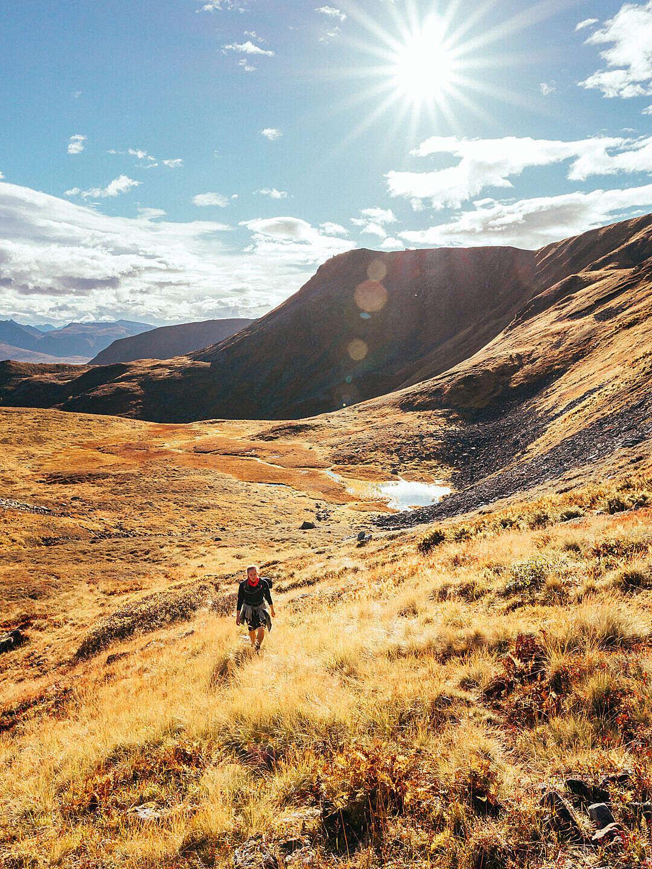 Download Woman Hiking in Norwegian Mountains FREE Stock Photo