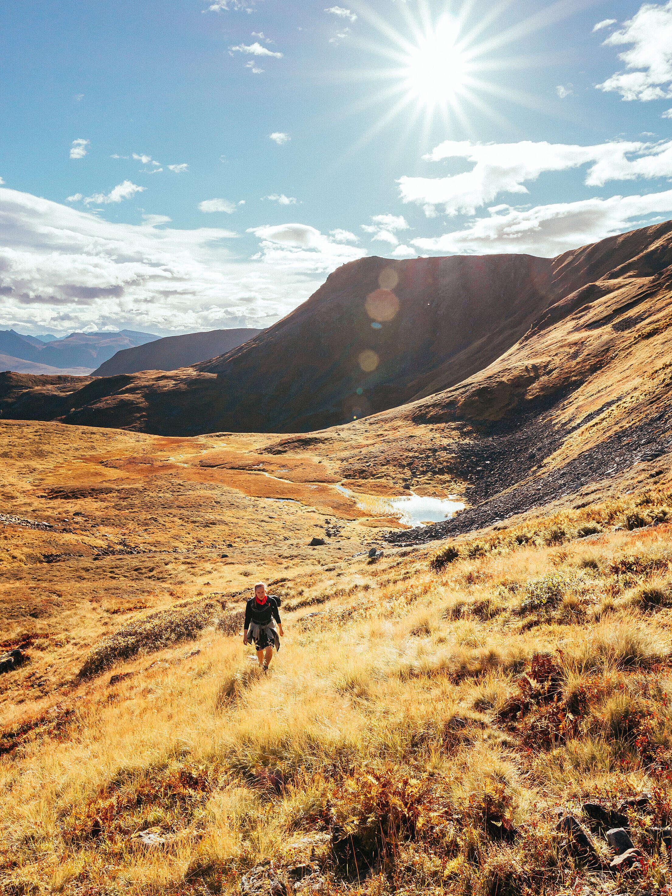 Woman Hiking in Norwegian Mountains Free Stock Photo
