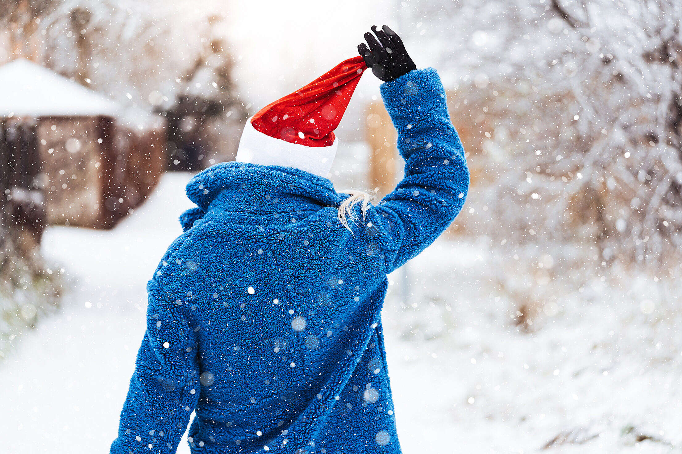 Woman Holding a Christmas Hat Free Stock Photo