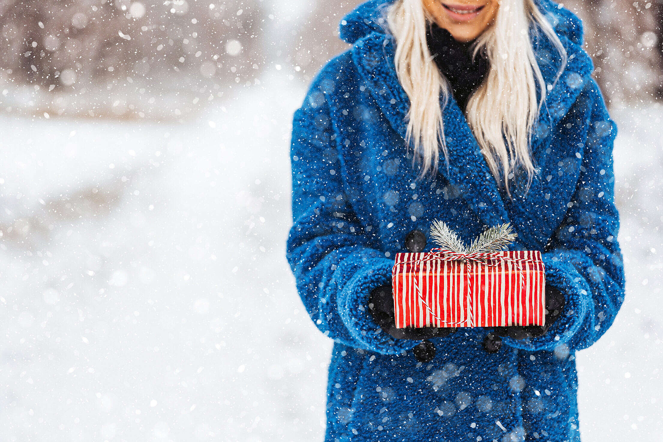 Woman Holding a Christmas Present Free Stock Photo