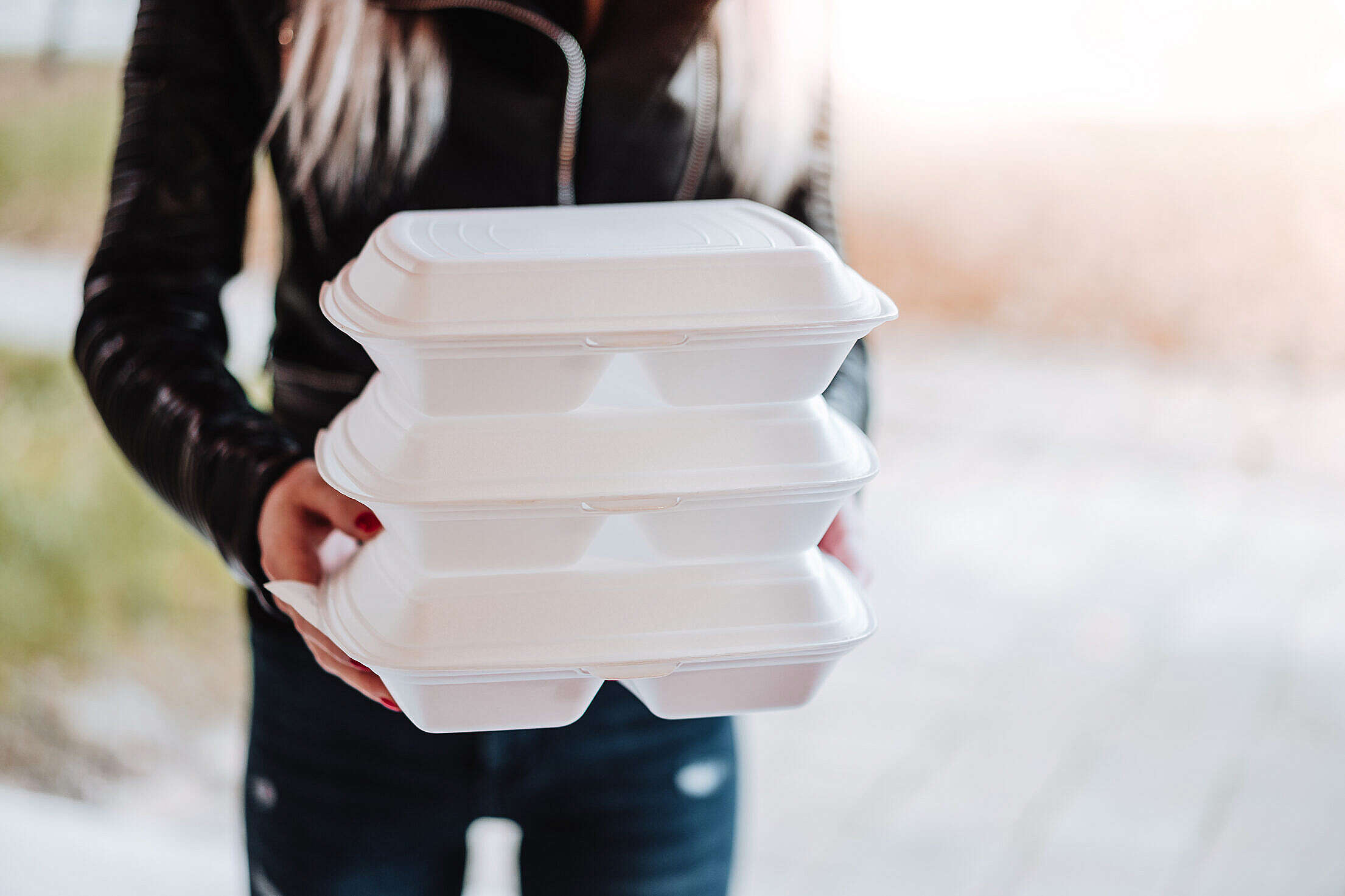 Woman Holding Dining Boxes Free Stock Photo