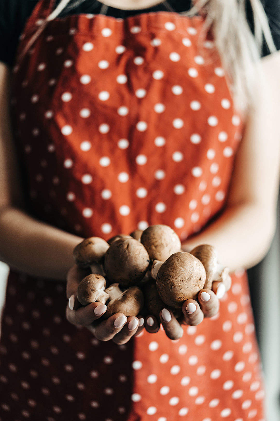 Download Woman Holding Fresh Mushrooms in the Kitchen FREE Stock Photo