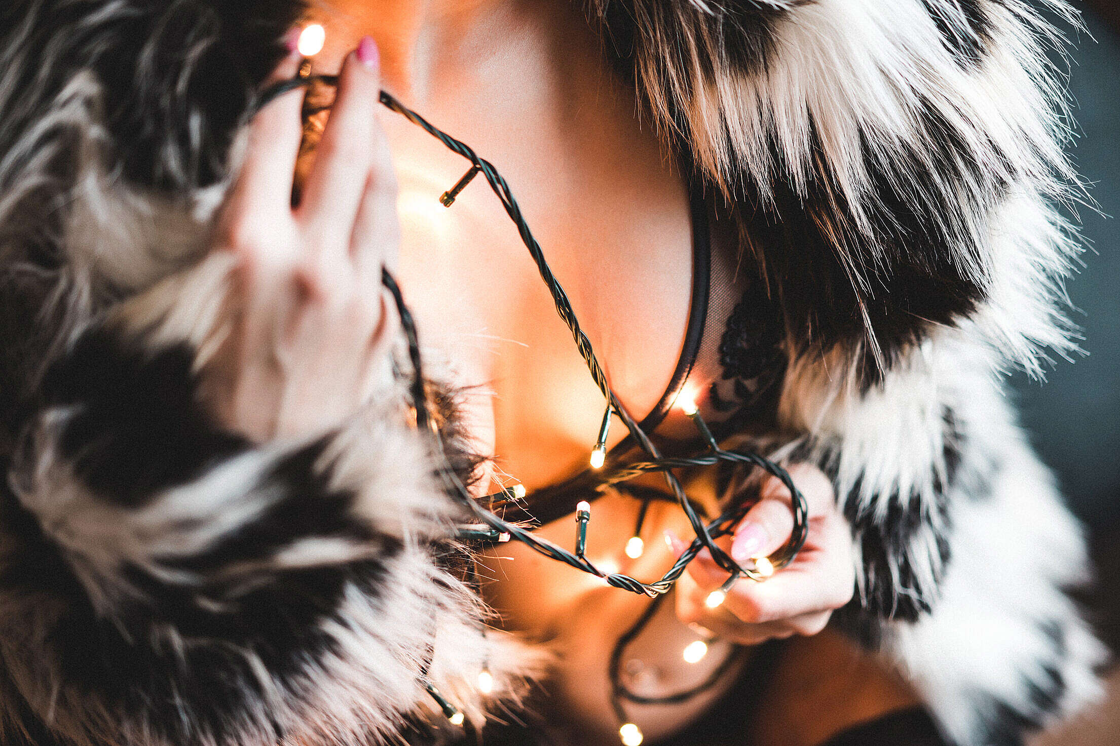 Woman in a Luxury Fur Coat with Christmas Lights Free Stock Photo
