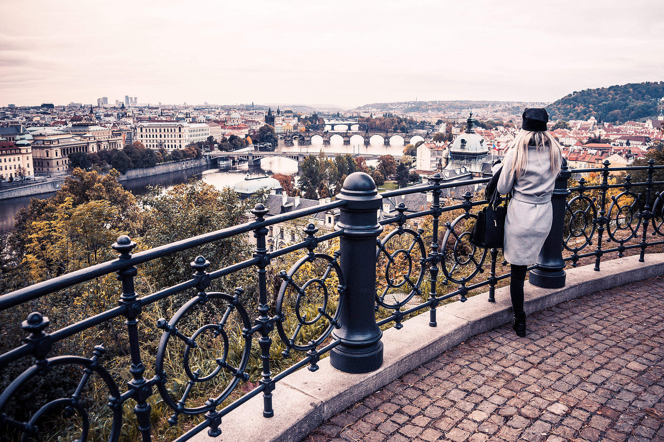 Woman Looking Over The Autumn Prague Free Stock Photo
