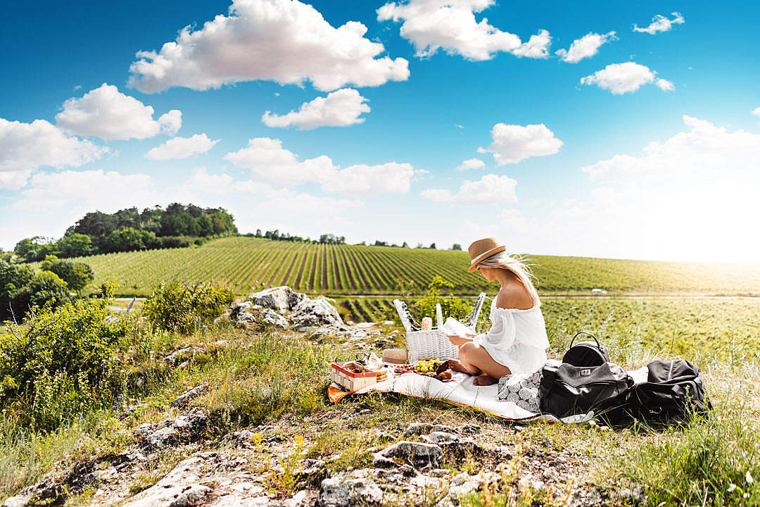 Download Woman Reading a Book on a Picnic in The Middle of The Nature FREE Stock Photo