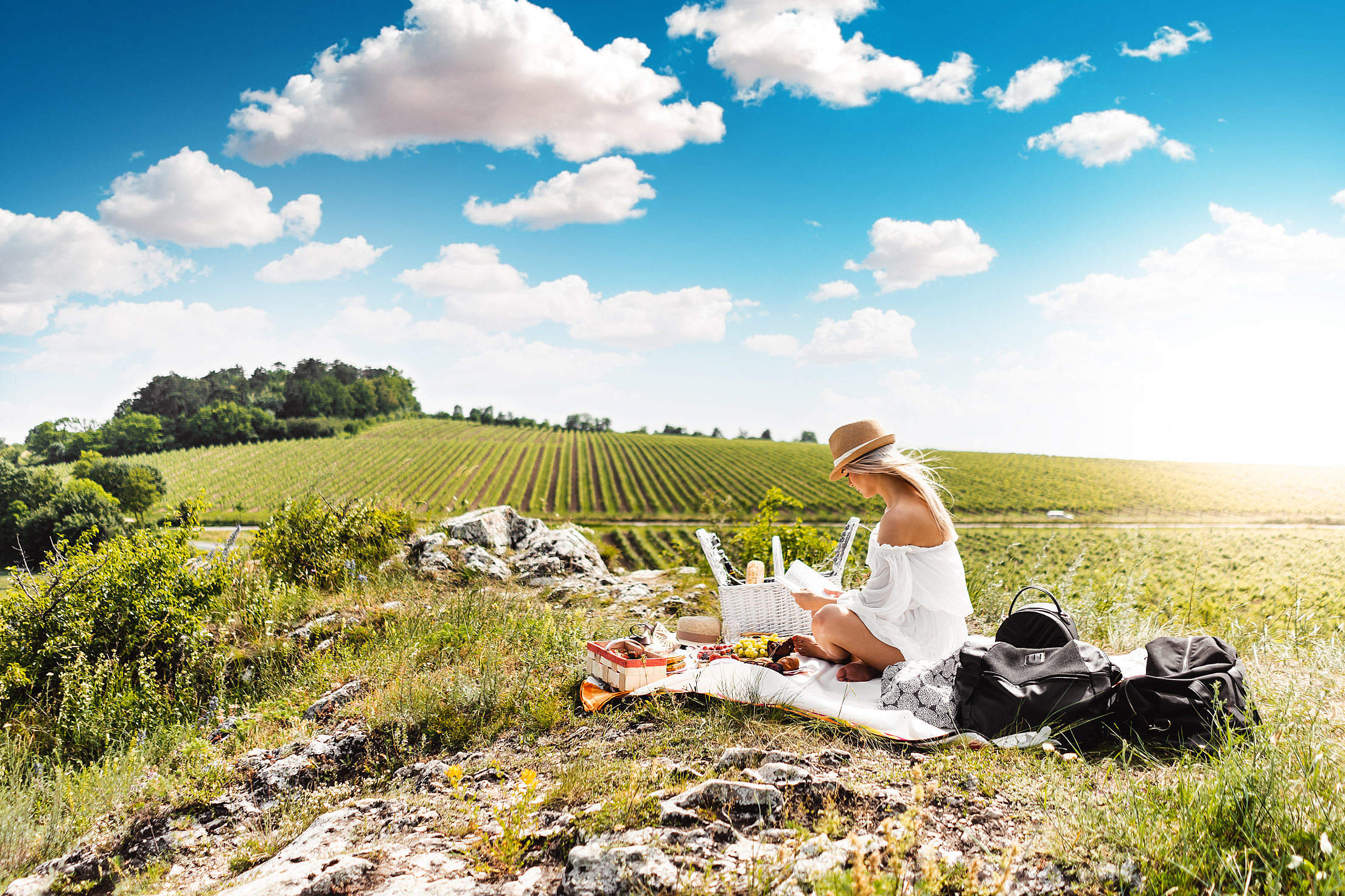 Woman Reading a Book on a Picnic in The Middle of The Nature Free Stock Photo