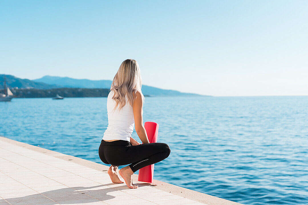Download Woman Ready to Start Morning Yoga FREE Stock Photo