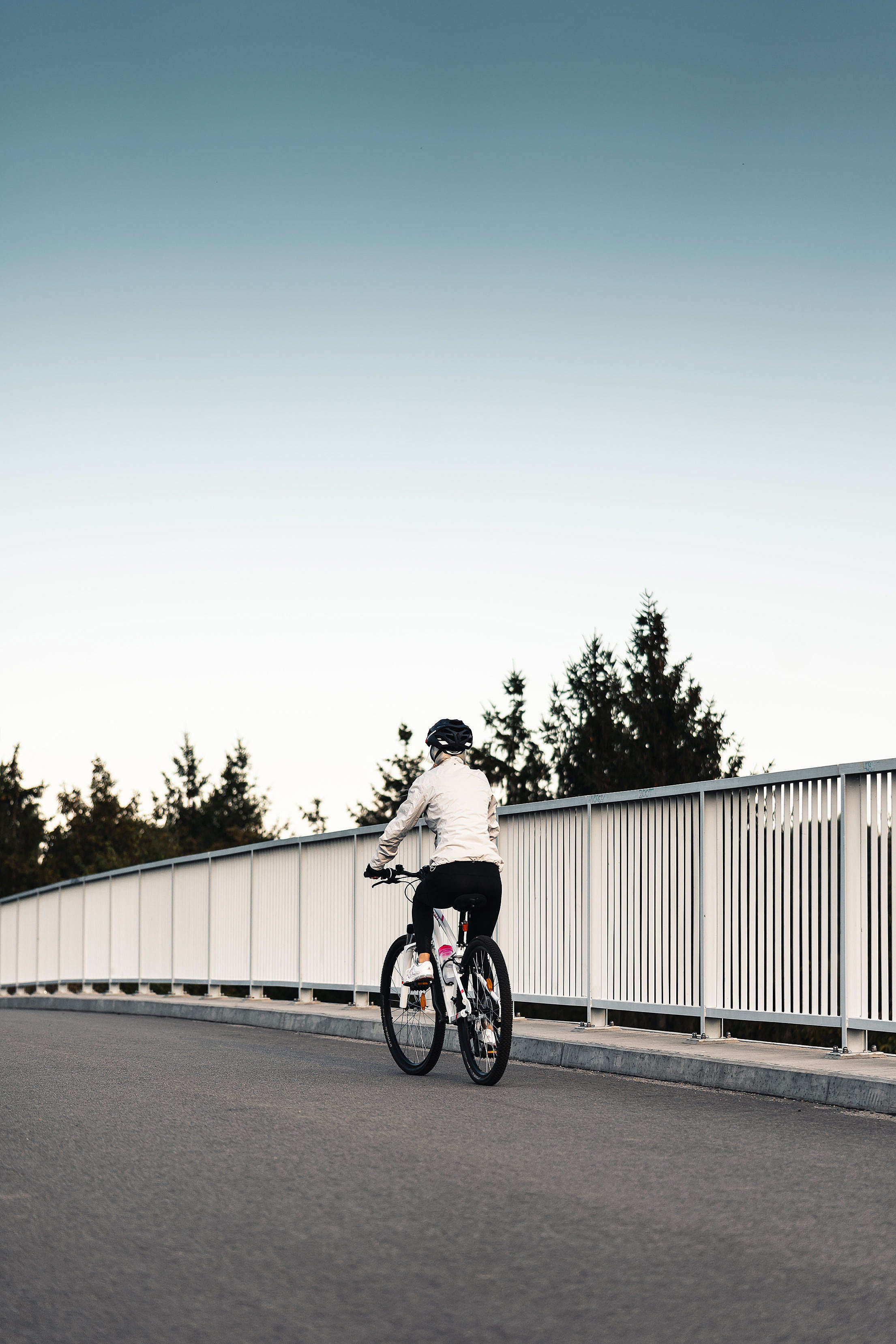 Woman Riding a Bicycle and Wearing a Helmet Free Stock Photo