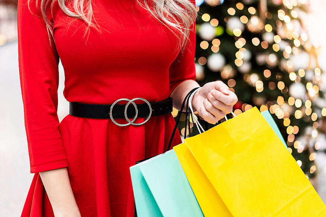 Download Woman Shopping Christmas Gifts FREE Stock Photo