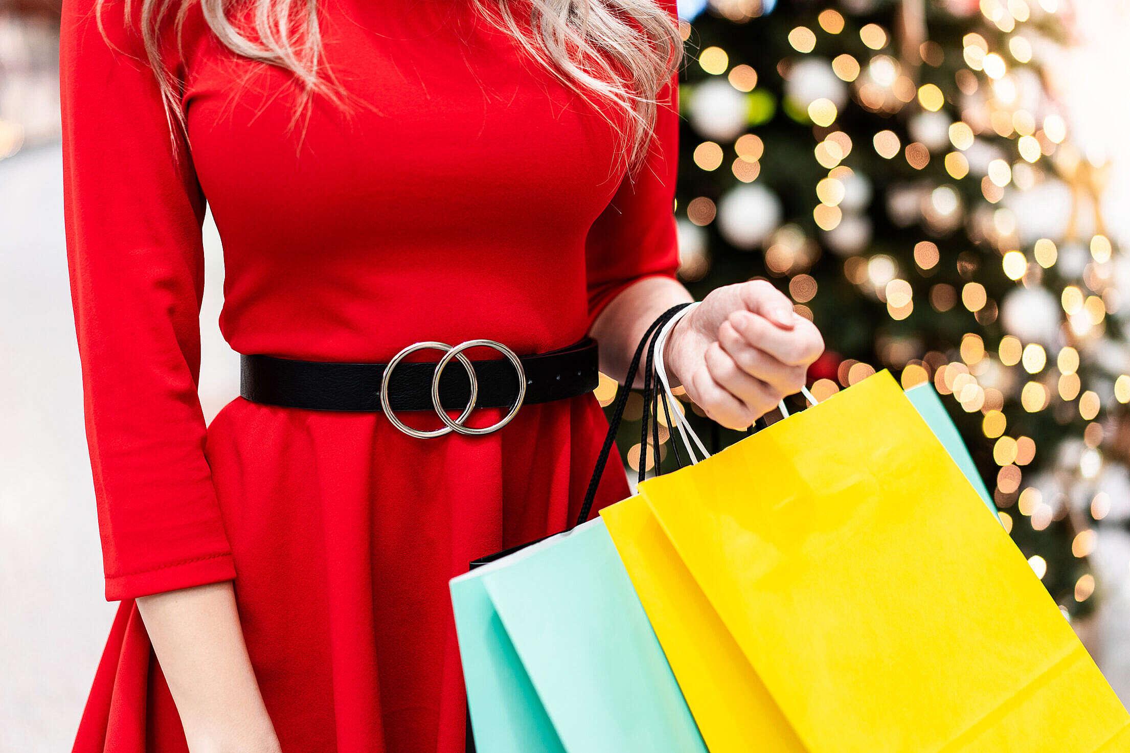 Woman Shopping Christmas Gifts Free Stock Photo