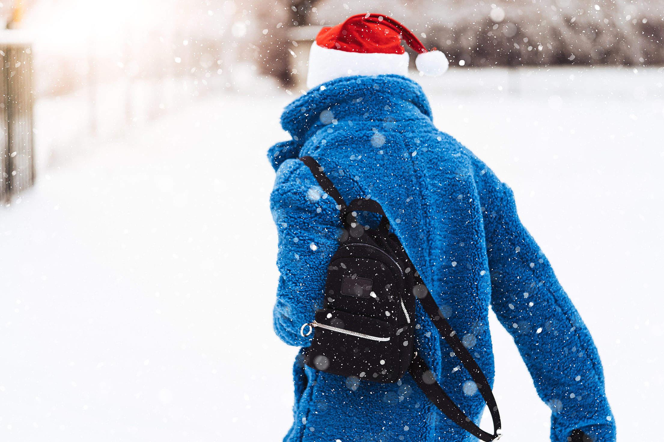 Woman Walking in a Snowy Landscape Free Stock Photo