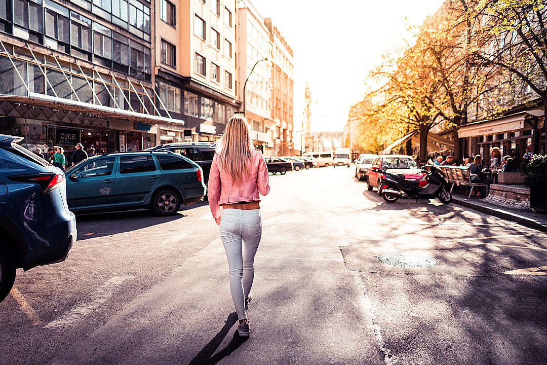 Download Woman Walking on Prague Street FREE Stock Photo