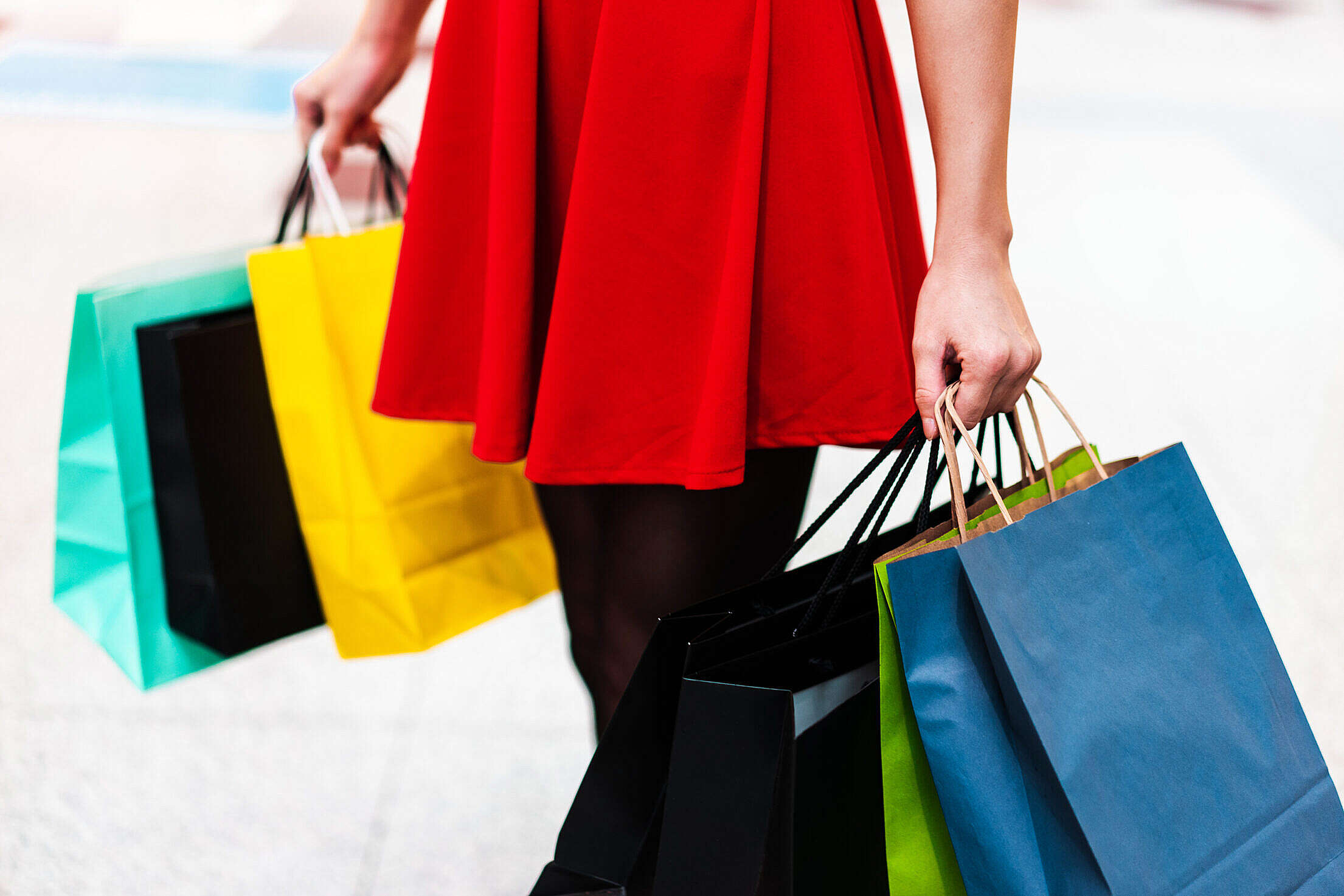 Woman With Black Friday Shopping Bags Free Stock Photo