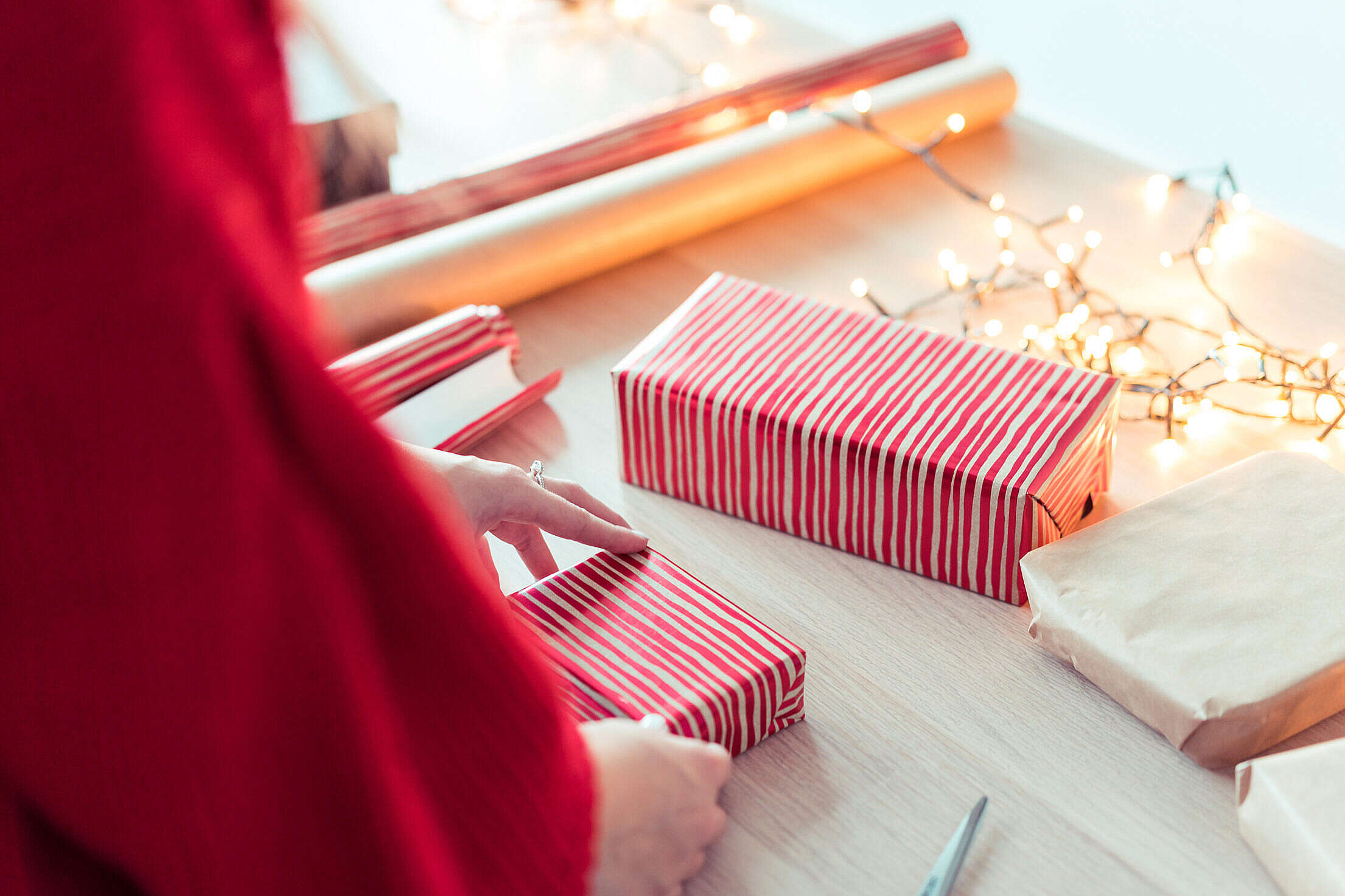 Woman Wrapping Christmas Presents Free Stock Photo