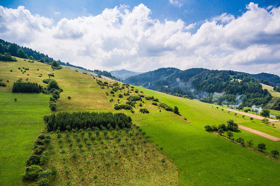 Download Wonderful Hills Scenery with Green Grass and Trees FREE Stock Photo