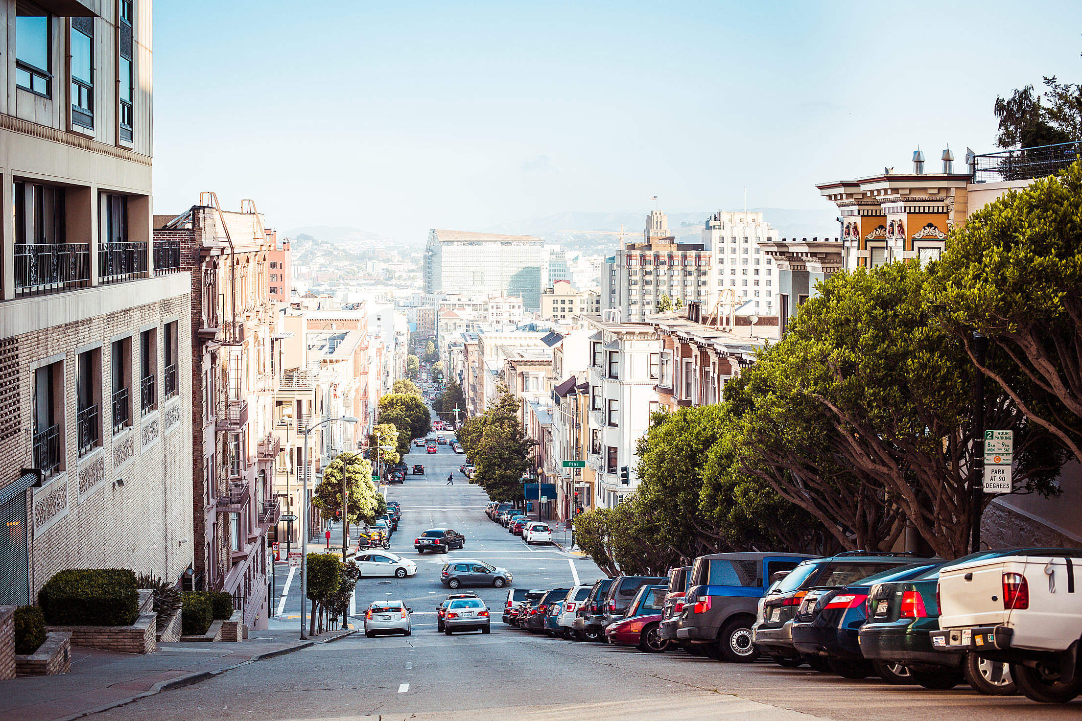 Wonderful View Down to San Francisco Street Free Stock Photo