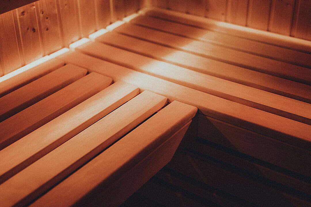 Download Wooden Bench in Finnish Sauna FREE Stock Photo