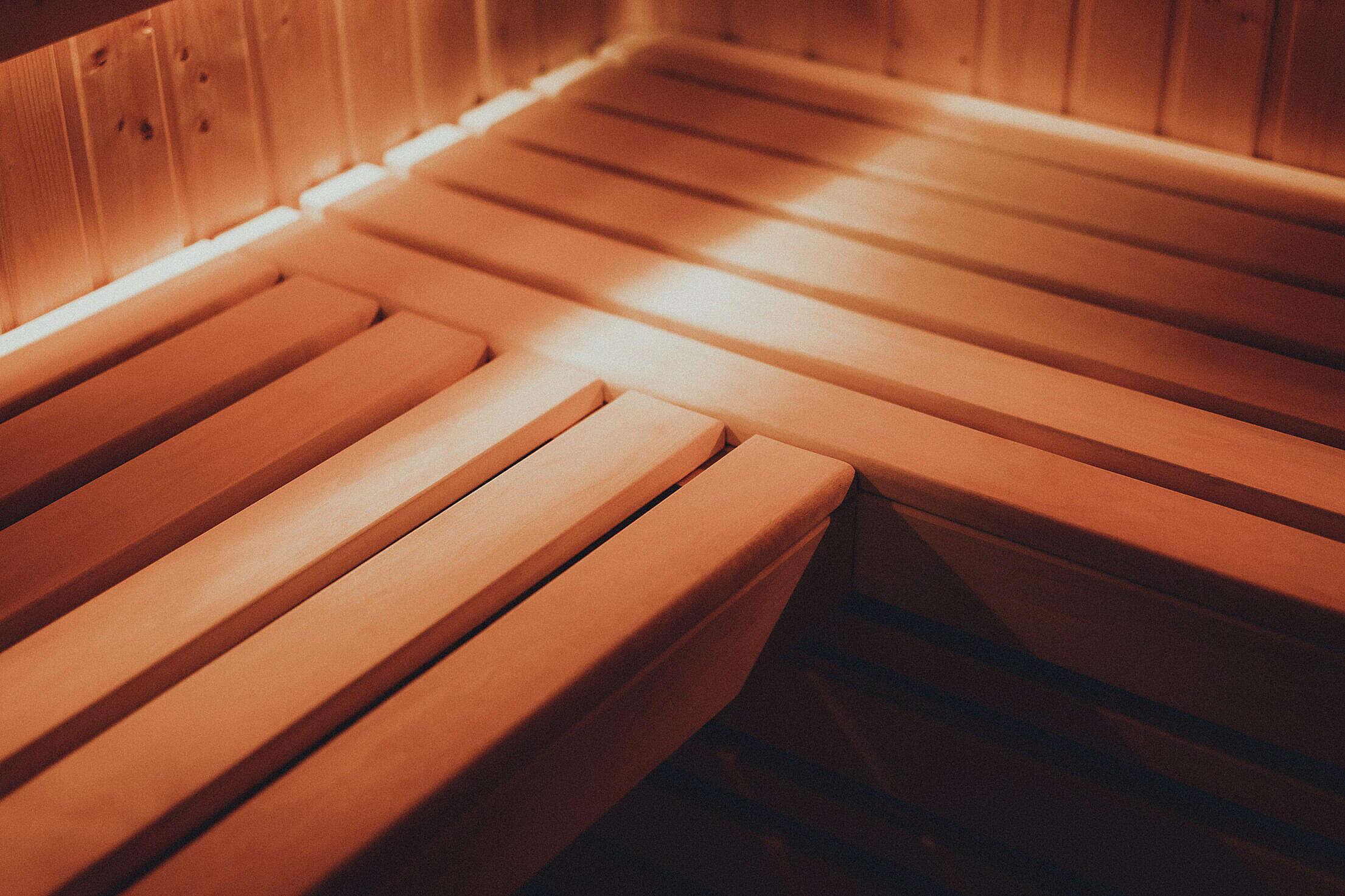 Wooden Bench in Finnish Sauna Free Stock Photo