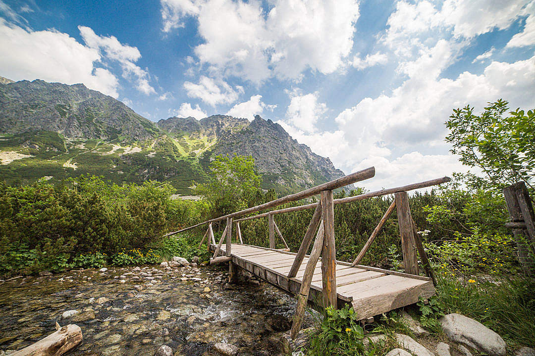 Download Wooden Bridge in High Tatras Mountains FREE Stock Photo