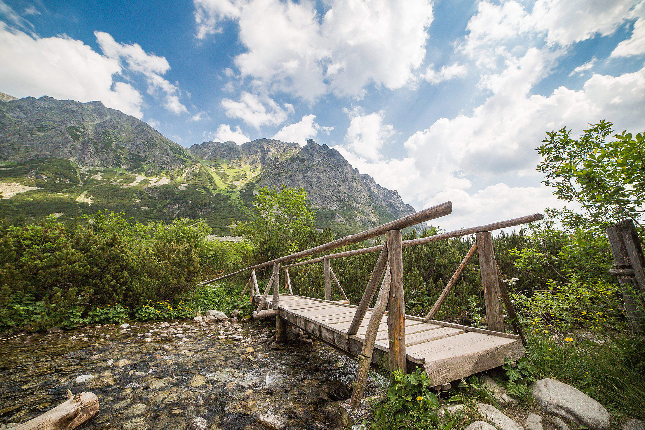 Wooden Bridge in High Tatras Mountains Free Stock Photo