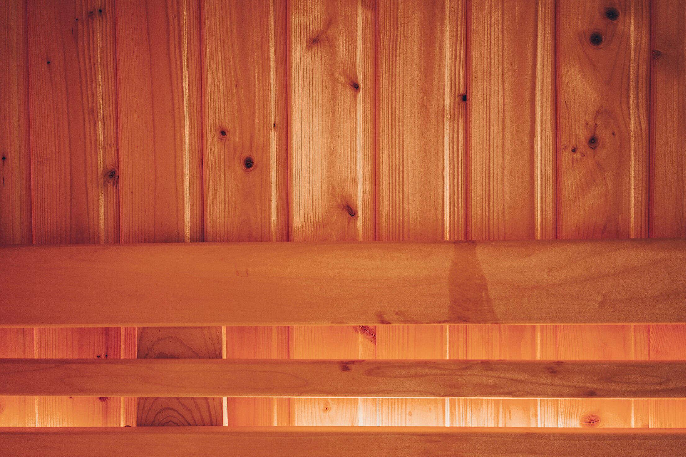 Wooden Finnish Sauna Interior Free Stock Photo