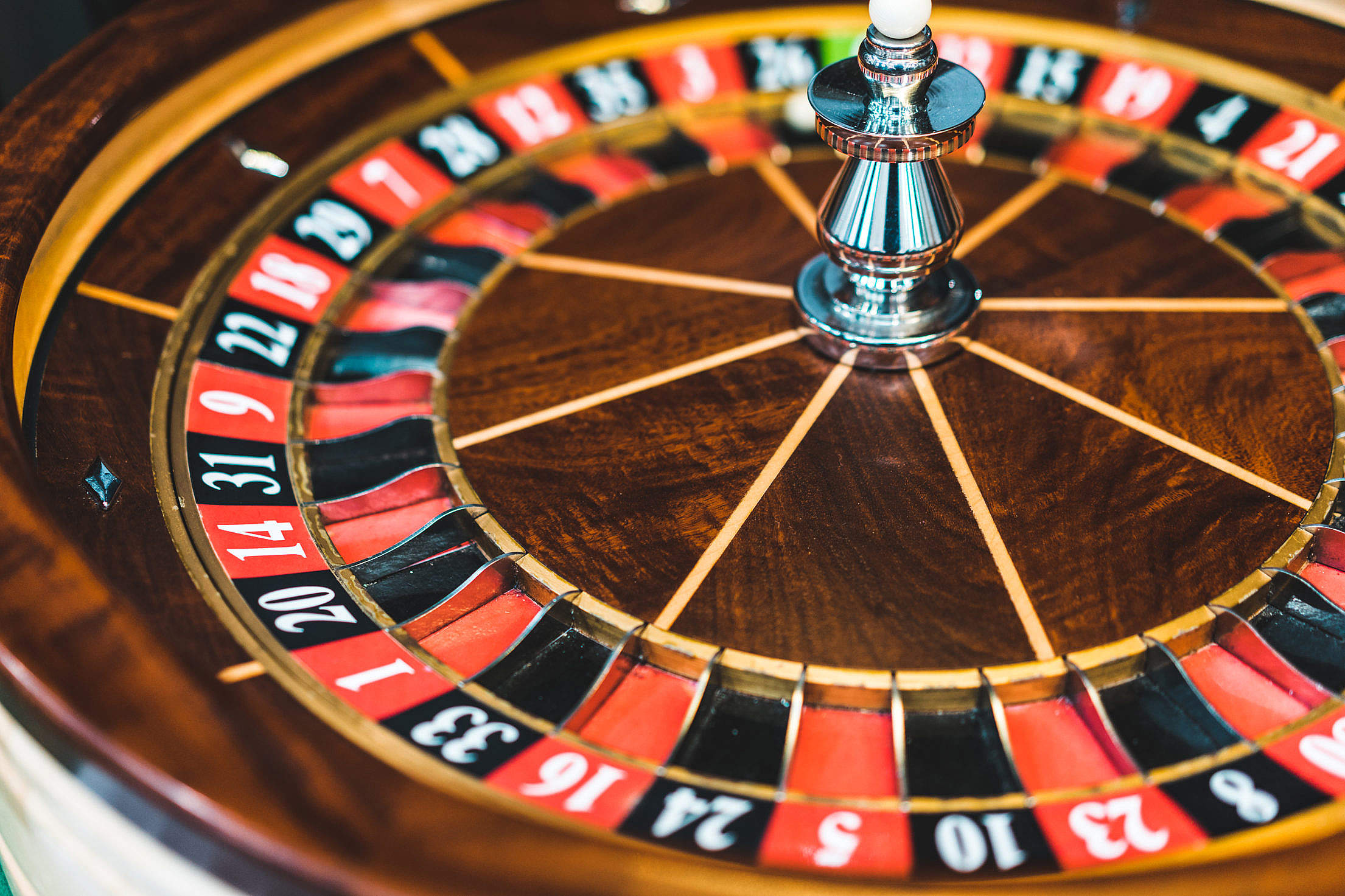 Wooden Roulette Wheel Casino Game Free Stock Photo