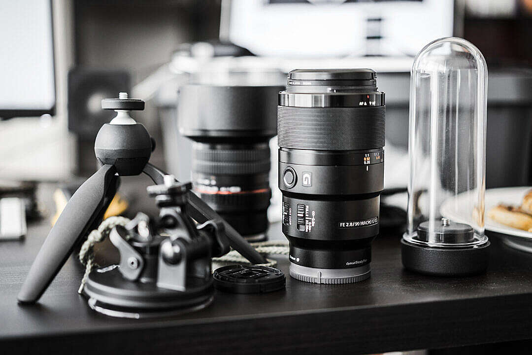 Download Workdesk Mess and Professional Photography Gear FREE Stock Photo