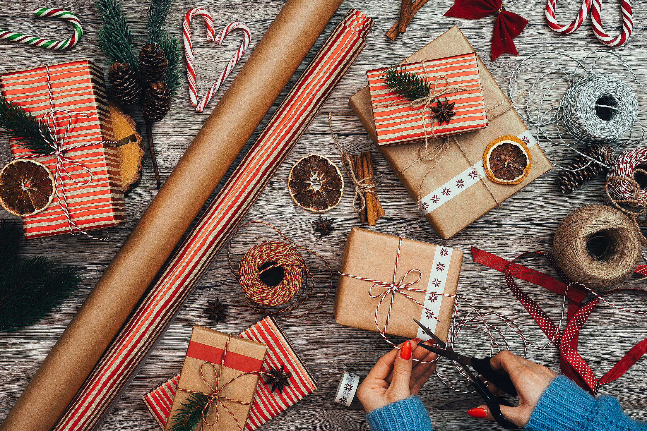 Wrapping Christmas Presents Free Stock Photo