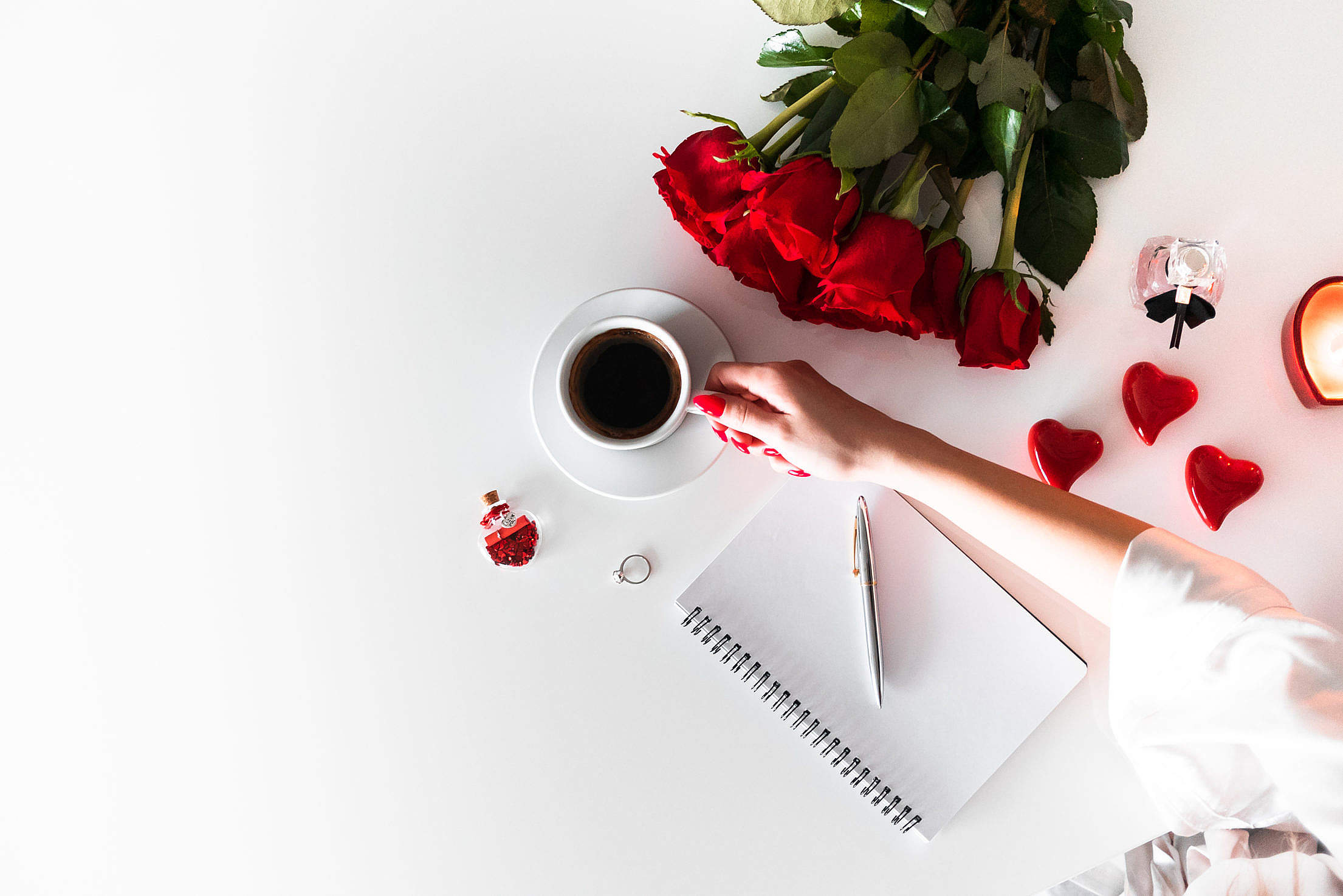 Writing a Love Letter Free Stock Photo